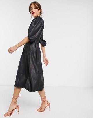 Asos Design DESIGN leather look midi swing dress-Black