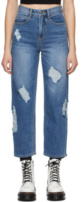 Sjyp Blue Damaged Jeans