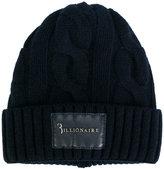 Billionaire chunky knit logo patch beanie