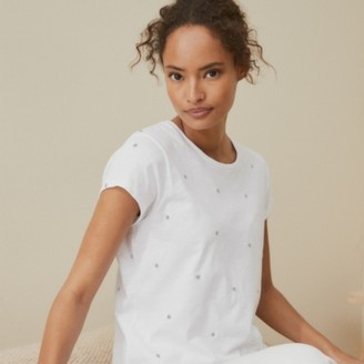 The White Company Jersey Star Embroidered T-Shirt, White Silver, 8