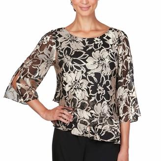Alex Evenings Women's Plus Size Asymmetric Printed Chiffon Blouse