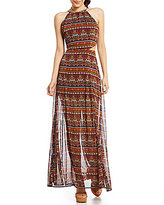 GB Printed Cutout Maxi Dress