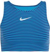 Nike Power Cropped Striped Dri-fit Stretch-jersey Tank - Blue