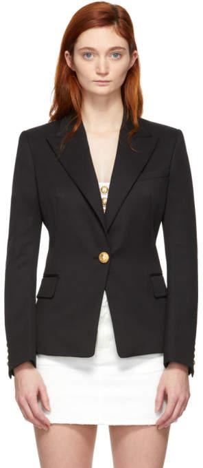 Balmain Black Wool Single-Breasted Blazer