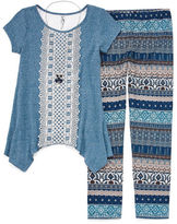 Knitworks Knit Works Short-Sleeve Crochet Front Legging Set w/ Necklace - Girls' 7-16 and Plus