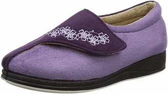 Padders Hug EE Wide Fitting Womens Memory Foam Slippers - UK 4 - Purple