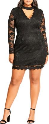 City Chic Roxy Cutout V-Neck Long Sleeve Lace Dress