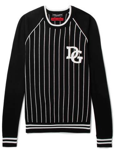 Dolce & Gabbana Appliquéd Striped Cotton-Blend Sweater