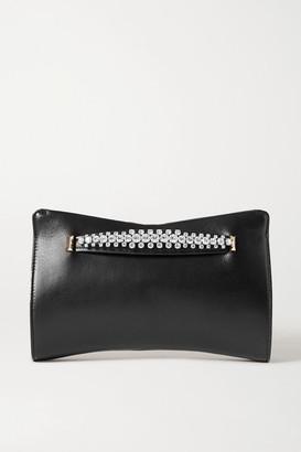 Jimmy Choo Venus Crystal-embellished Leather Clutch - Black
