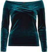 River Island Womens Green velvet bardot wrap top
