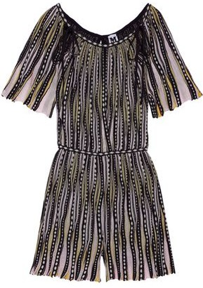 M Missoni Cutout Metallic Crochet-knit Playsuit