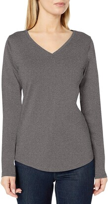 Amazon Essentials Women's Standard 100% Cotton Relaxed-Fit Long-Sleeve V-Neck T-Shirt