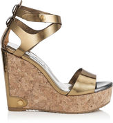 Jimmy Choo NOELLE 120 Light Honey and Steel Mirror Leather Cork Wedges