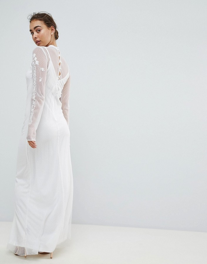 Thumbnail for your product : Hope & Ivy Dotty Mesh Maxi Bridal Dress With Embroidery And High Neck Detail