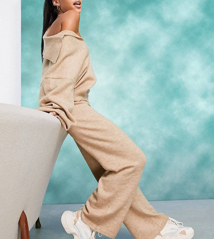 ASOS DESIGN Petite co-ord knitted wide leg trouser in oatmeal