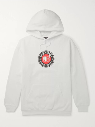 Balenciaga Oversized Logo-Print Fleece-Back Cotton-Jersey Hoodie