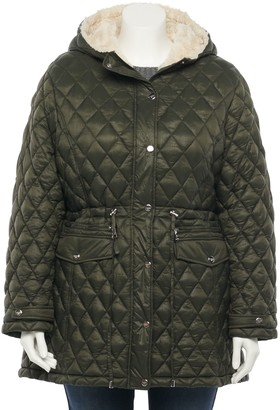 Madden-Girl Juniors' Plus Size Hood Quilted Anorak Jacket