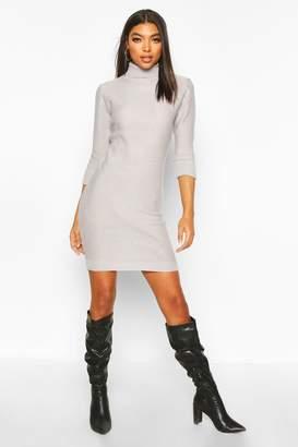 boohoo Tall Rib Knit Roll Neck Jumper Dress