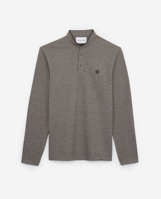 The Kooples Grey cotton polo w/buttoned officer collar