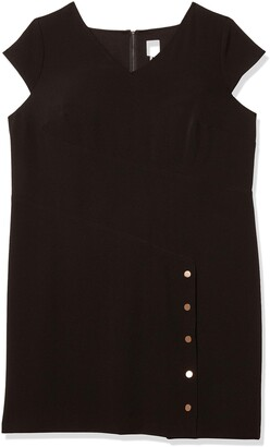 Julia Jordan Women's Plus Size Short Sleeve Sheath with Button Detail