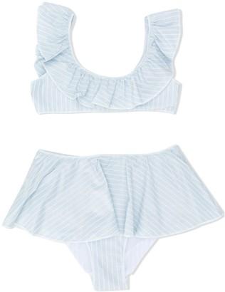 Oseree Kids Striped Ruffled Bikini Set