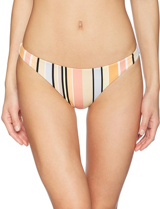 RVCA Junior's Horizon Stripe Reversible Medium Bikini Bottom