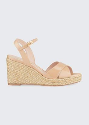 Stuart Weitzman Rosemarie Patent Leather Wedge Espadrille Sandals
