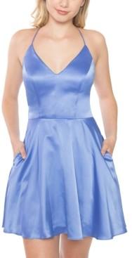 B. Darlin Juniors' Lace-Back Satin Skater Dress