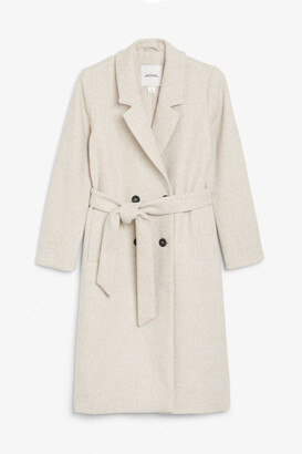 Monki Double-breasted belted coat