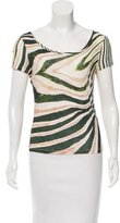 Roberto Cavalli Abstract Print Scoop Neck T-Shirt