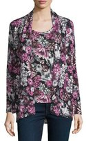 Neiman Marcus Floral Orlag Open Cashmere Cardigan