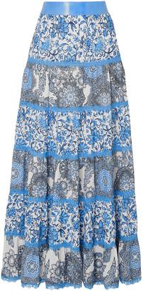 Alice + Olivia Lace-trimmed Floral-print Crepe De Chine Maxi Skirt