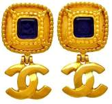 Chanel CC Logo Gold Tone Metal Blue Stone Dangle Earrings