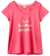 Joules Anna Five More Minutes Slogan Pyjama Top, Pink