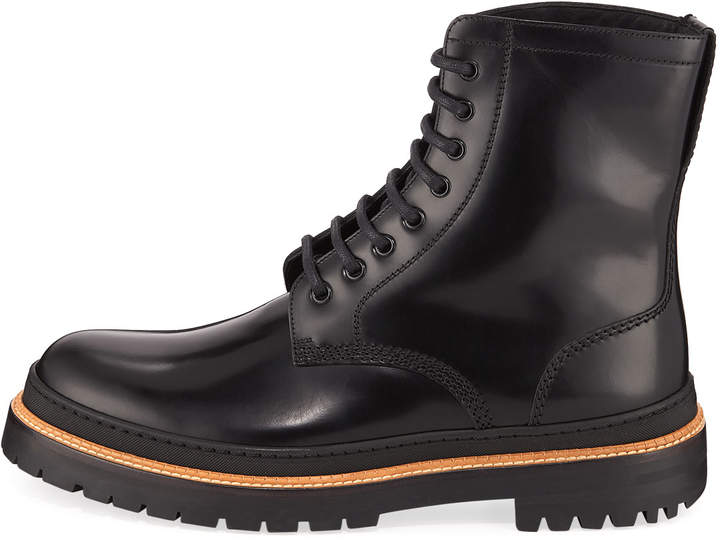 Burberry Men's Leather Lace-Up Combat Boots