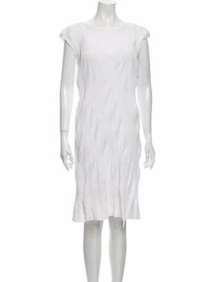 Issey Miyake Bateau Neckline Knee-Length Dress White