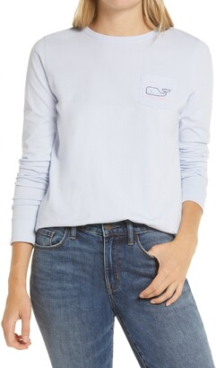 Vineyard Vines Pocket Two-Tone Long Sleeve Whale Graphic Tee