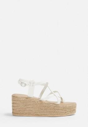 Missguided White Toe Post Platform Sandal