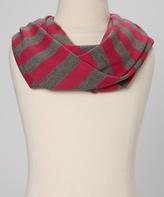 Erge Heather Gray & Fuchsia Stripe Scarf - Girls