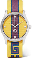 Gucci Striped Canvas And Stainless Steel Watch - Yellow