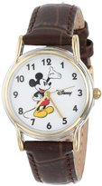 EWatchFactory Disney Women's D072S007 Mickey Mouse Watch with Brown Leather Strap