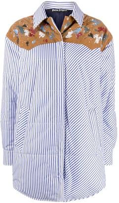 Palm Angels Vertical-Stripe Padded Shirt Jacket