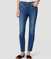 LOFT Modern Frayed Skinny Ankle Jeans in Medium Enzyme Wash