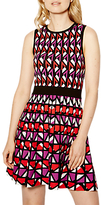 Karen Millen Geometric Knitted A-Line Dress, Red/Multi