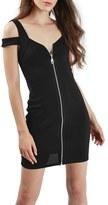 Topshop Women's Zip Front Off The Shoulder Body-Con Dress