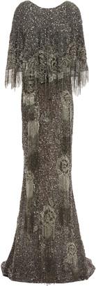 Marchesa Cape-effect Velvet-trimmed Embellished Tulle Gown