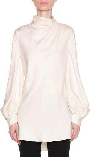 Giorgio Armani Ruched-Neck Long-Sleeve Silk Cady Asymmetric Tunic Blouse