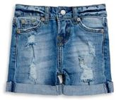 7 For All Mankind Little Girl's Rollover-Cuff Distressed Denim Shorts