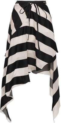 Marques Almeida Maled Asymmetric Stripe Skirt