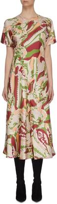 Victoria Beckham Abstract Print Panel Flare Dress